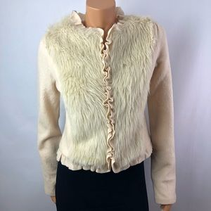 Cream zip up 100% wool cardigan silk lining Sz M